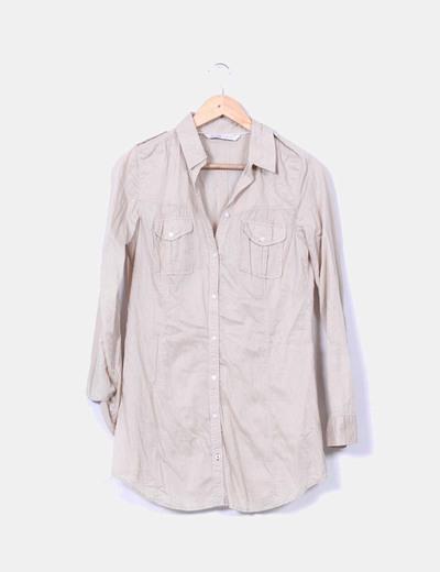 Vestido camisero beige manga larga Zara