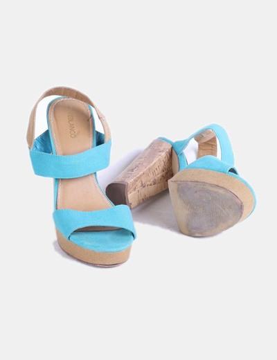 Sandalias tiras de lona turquesa