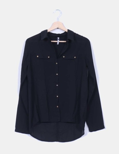 Camisa negra lisa Stradivarius