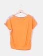 Blusa naranja combinada con estampado cachemira Miao