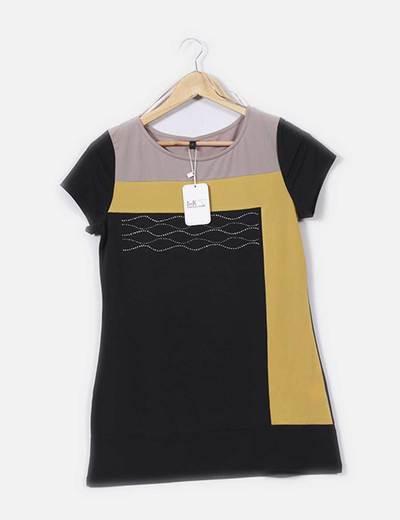 Camiseta tricolor con strass SMR