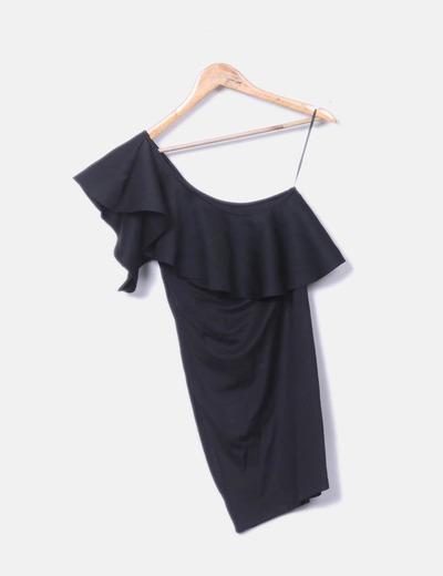 Vestido negro asimétrico con volante NoName