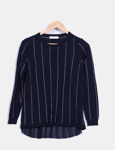 Suéter azul marino a rayas Sandro