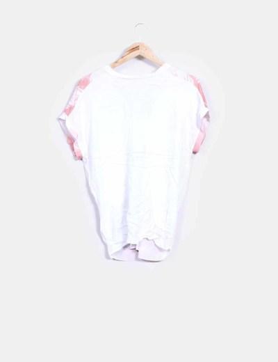 Blusa drapeada blanca print palmeras