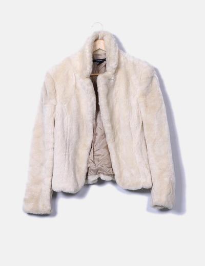 promo code 1500d 6f498 cappotto corto 65 Sintetico beige pelliccia sconto Zara di ...