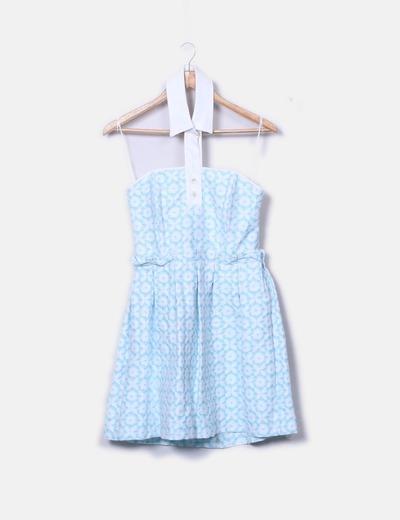 Vestido azul estampado cuello camisero