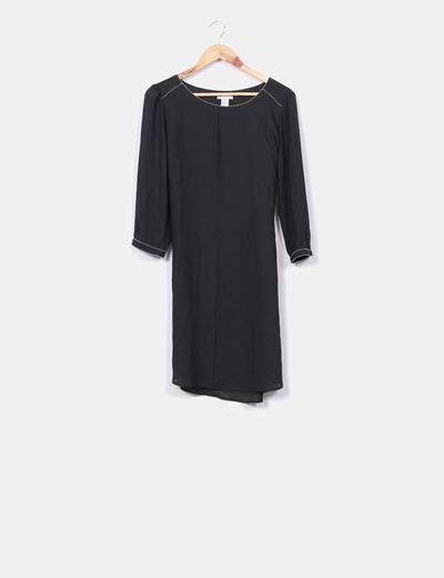 Vestido de gasa detalles plateados H&M