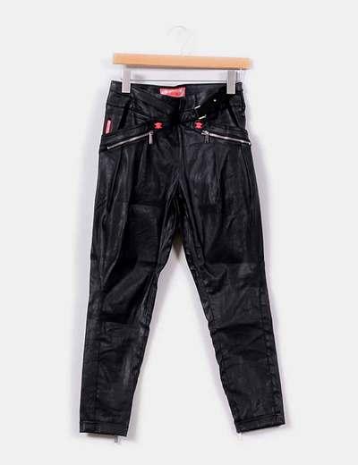 Pantalón negro pitillo encerado calaveras flúor Holy Preppy 9919e0e51ecc