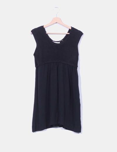 Vestido negro combinado sin mangas Gat Rimon