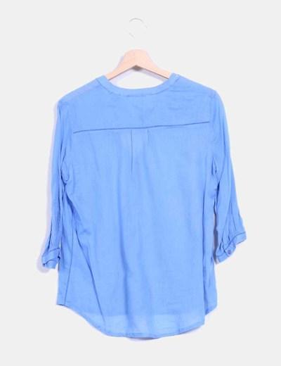 Blusa azul manga francesa