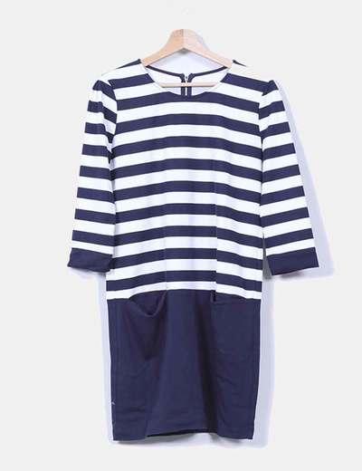 Vestido azul marino y blanco con rayas NoName