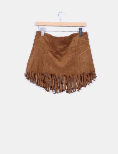 Mini falda antelina con flecos