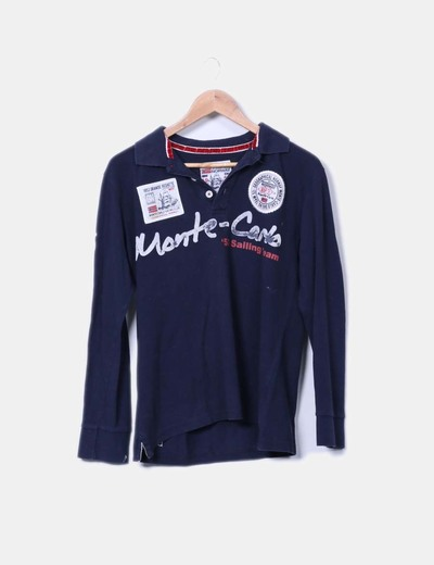 Polo azul marino con parches Geographical Norway