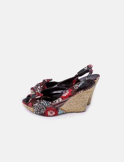 Cuña floral peep toe