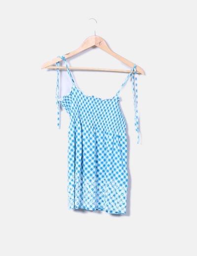 T-shirt bleu à carreaux C&A