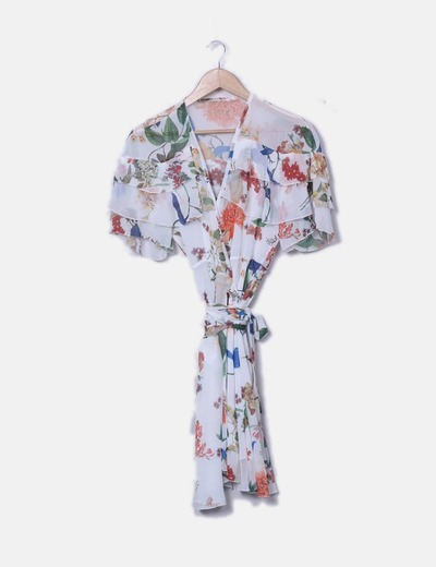 Vestido de gasa floral cruzado