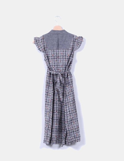 Vestido gris combinado floreado