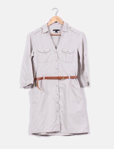 5a6feef38 Mango Vestido camisero beige de lino con cinturón (descuento 80 ...
