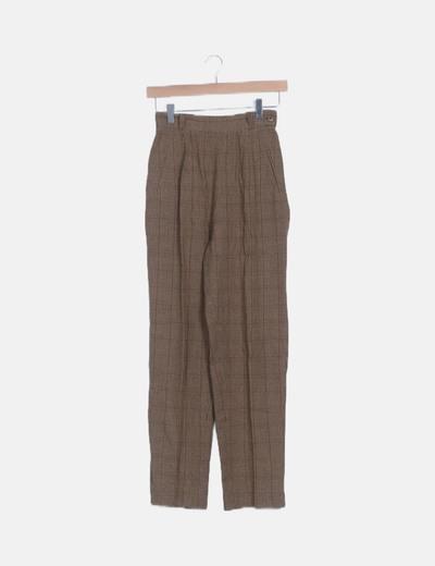 Pantalón traje cuadros marrón