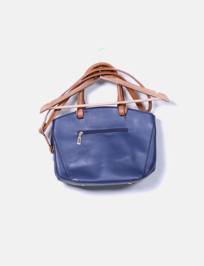 Bolso shoulder azul marino asa marron