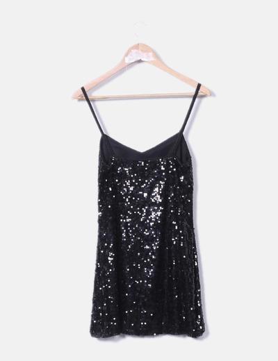 venta de descuento moda caliente estilo exquisito Vestido negro lentejuelas