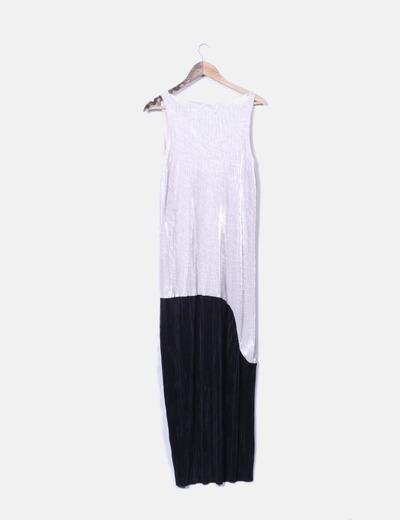 Vestido largo bicolor zara