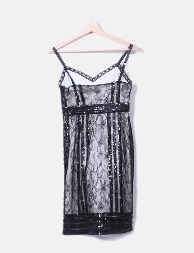4ca1811a37e Zara Vestido negro encaje lentejuelas (descuento 77 %) - Micolet