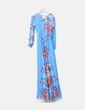 Robe bleue maxi d'ouverture florale NoName
