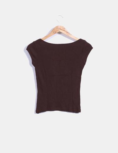 Top tricot marron