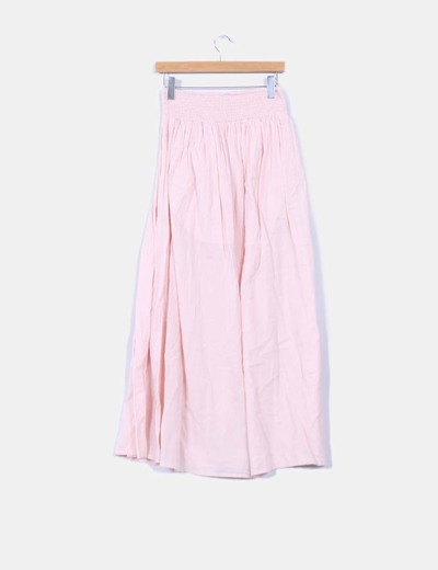 Falda rosa palo drapeada