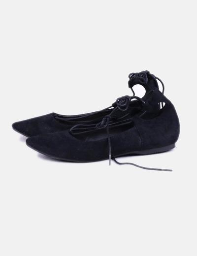 Ballerine noire avec de la dentelle Marypaz