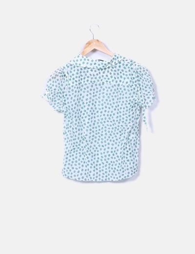 Camisa semitransparente blanca con motas verdes