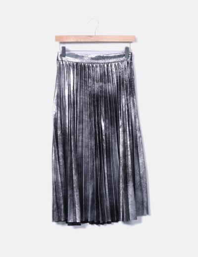 4cde4b4463 Zara Falda midi plisada plata (descuento 55%) - Micolet