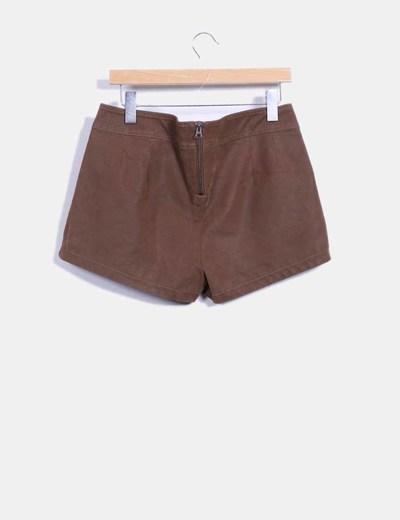 Short polipiel marron