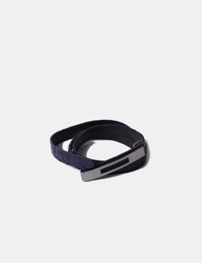 Cinturón texturizado azul marino NoName