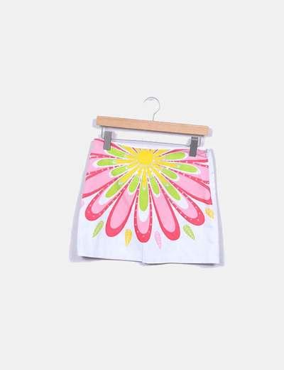 Jupe blanche florale avec paillettes Ichi