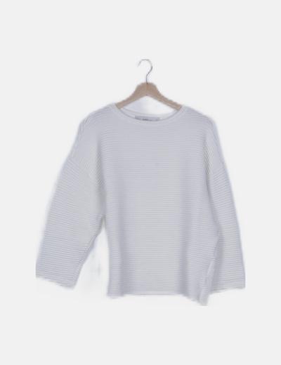 Jersey tricot blanco canalé