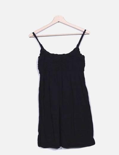 Vestido punto negro combniado