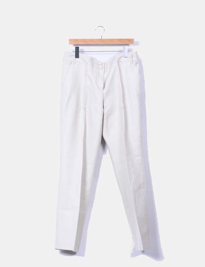 Pantalón beige lino recto Mango