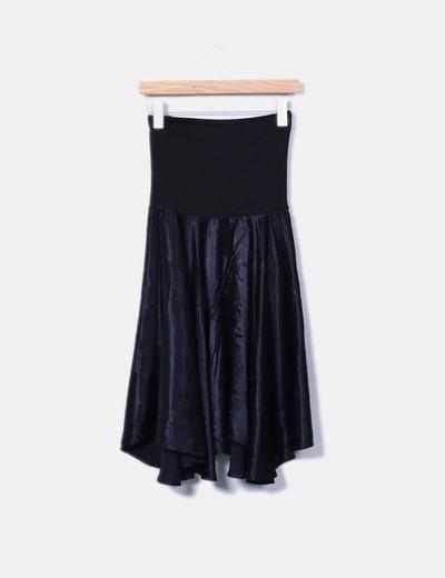 Vestido combinado negro palabra de honor NoName