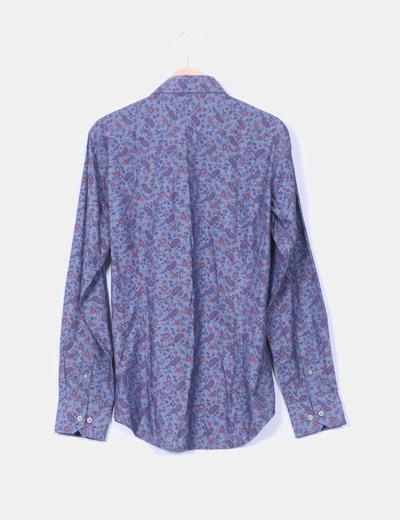 Camisa azul estampado cachermira