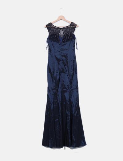 528c7e9b7 Vestido fiesta satén azul marino con pedrería