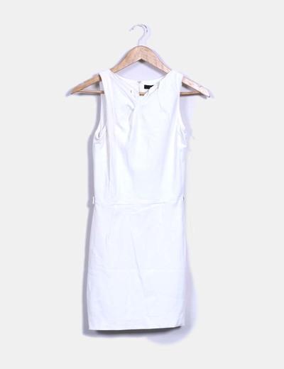 Vestido pichi blanco escote drapeado