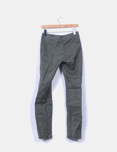 Pantalon lino verde pitillo