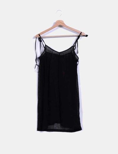 Vestido negro troquelado de tirantes semitransparente Motel