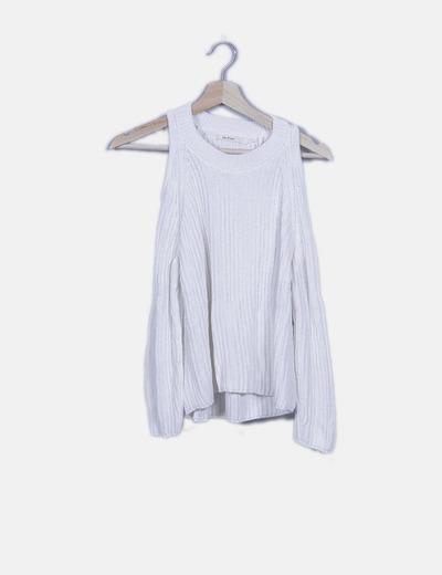Jersey de punto blanco hombros descubiertos