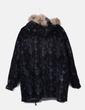 Abrigo de piel negro estampado con pelo en la capucha Vera pelle