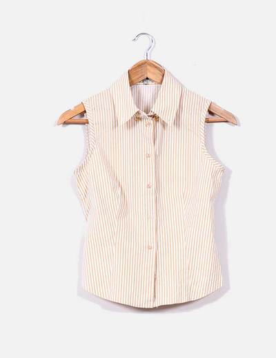 Camisa de rayas beige y blancas Naf Naf