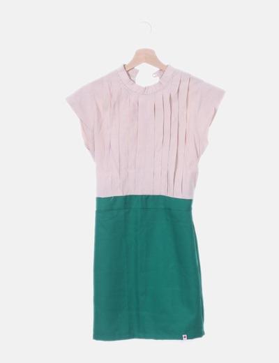 Vestido combinado bicolor
