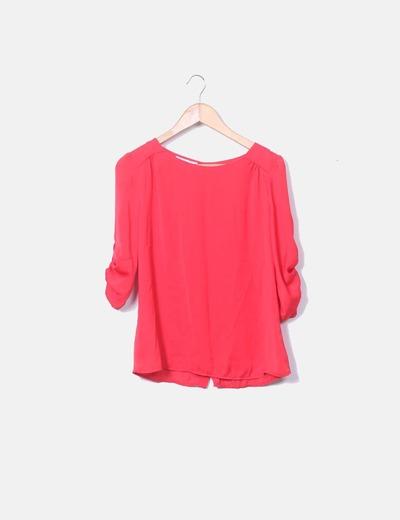 Blusa roja satinada botones Suiteblanco
